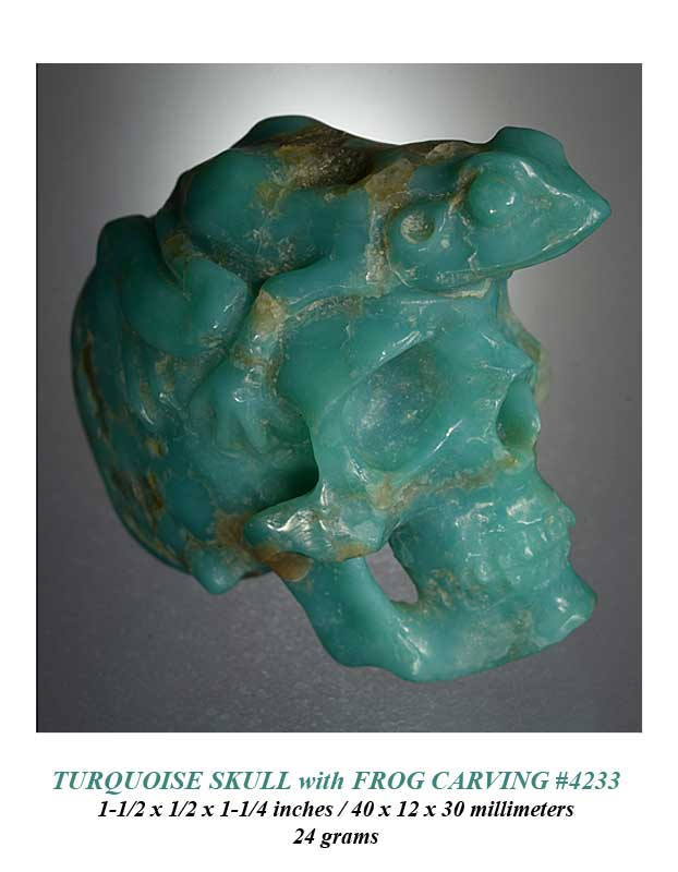 Turquoise Skull & Frog Carvings