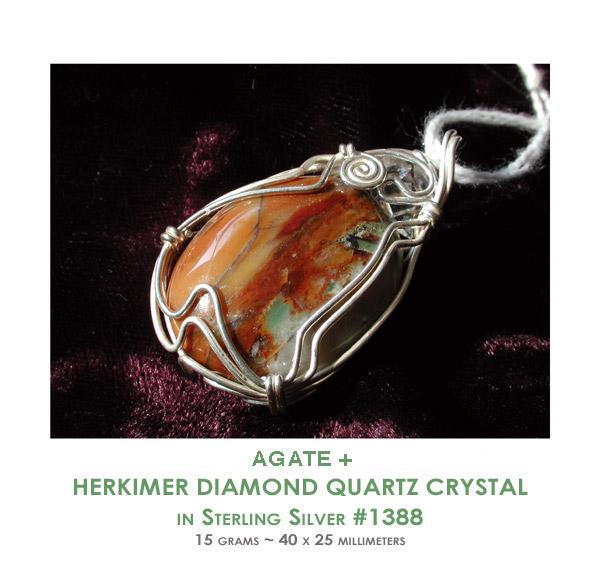 Agate Herkimer Diamond Sterling Silver Pendants