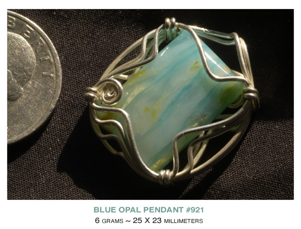 wire wrapped Blue Opal Pendant